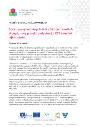 TZ - Počet znevýhodněných dětí v běžných školách stoupá, nový projekt podpořený z ESF usnadní jejich výuku