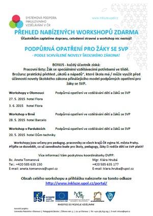 Workshopy zdarma: Podpůrná opatření pro žáky se SVP pro širokou veřejnost