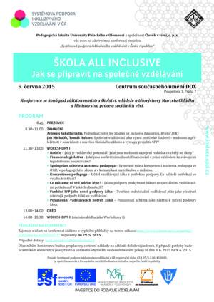 Zveme Vás na konferenci Systémová podpora inkluzivního vzdělávání (Praha - 9. 6. 2015)