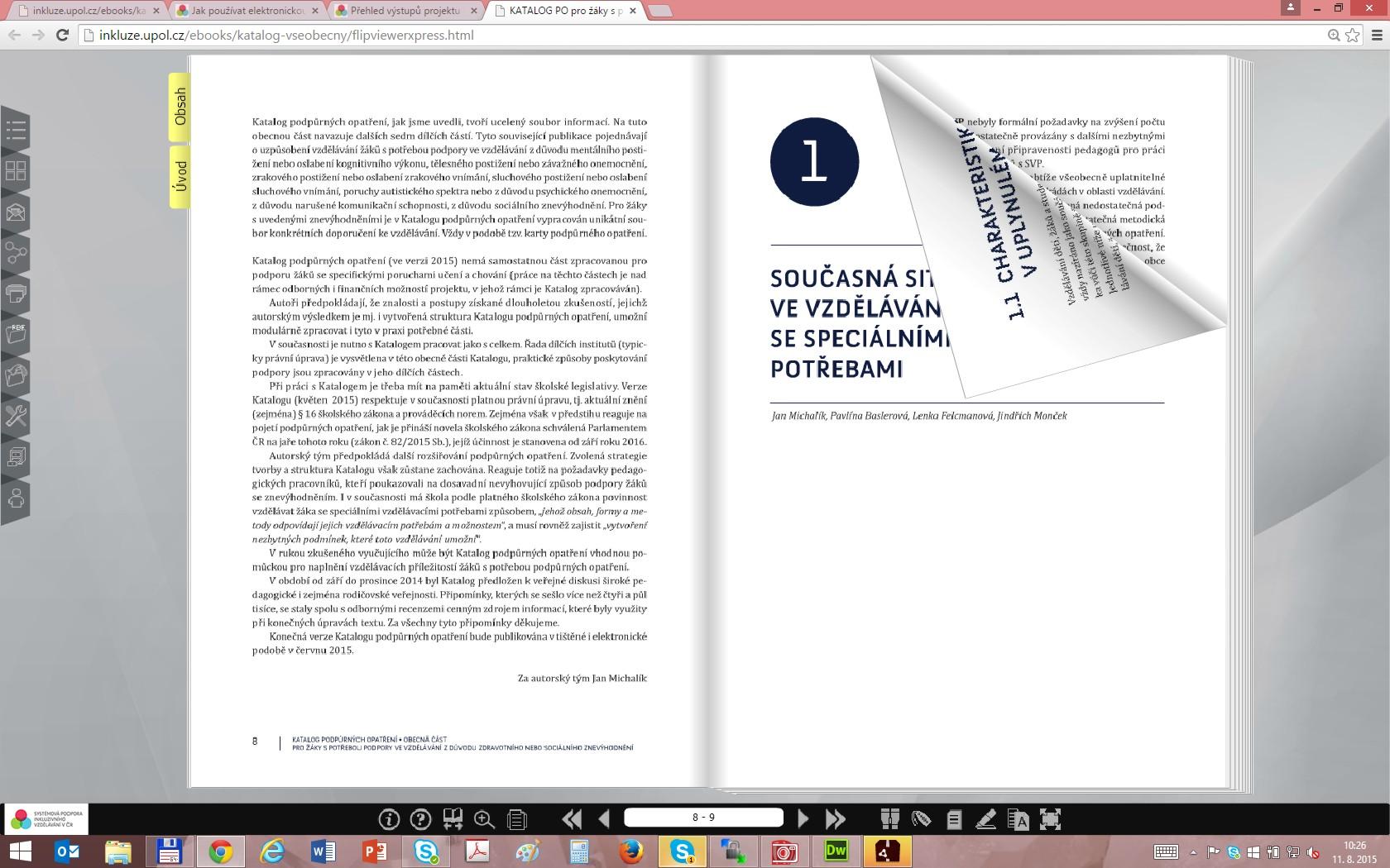 Náhled struktury stránky flipbooku.